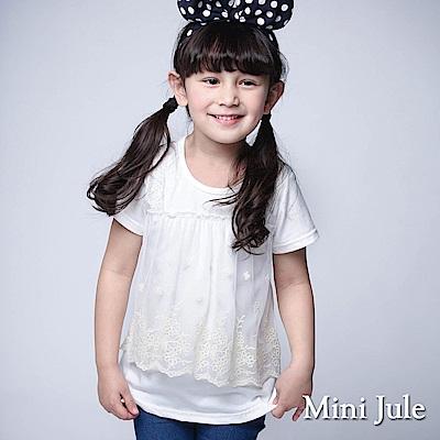 Mini Jule 童裝-上衣 網紗蕾絲花朵短袖T恤(米白)