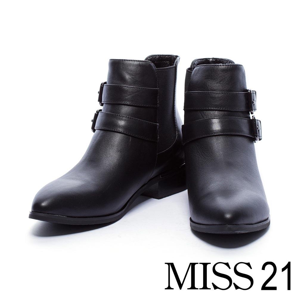 短靴 MISS 21 經典必備雙釦帶牛皮粗跟短靴-黑