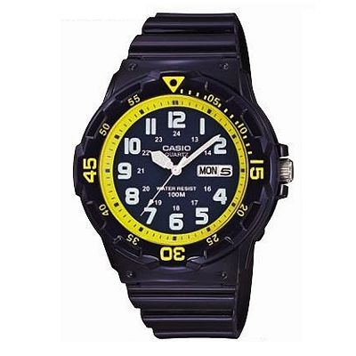 CASIO 潛水風指針錶(MRW-200HC-2B)-深藍x黃刻度/44.6mm