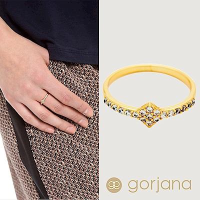 Gorjana 菱形白鑽 細緻單圈 金色戒指 Delano Ring