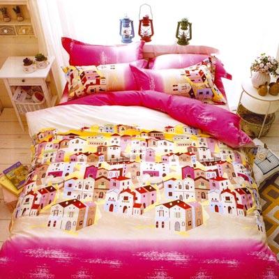 美夢元素 天鵝絨涼被床包組-雙人四件式 夢幻小屋