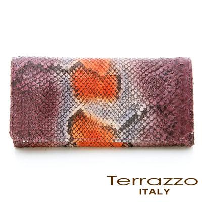 義大利Terrazzo-品牌主打貴氣蟒蛇皮釦式長夾