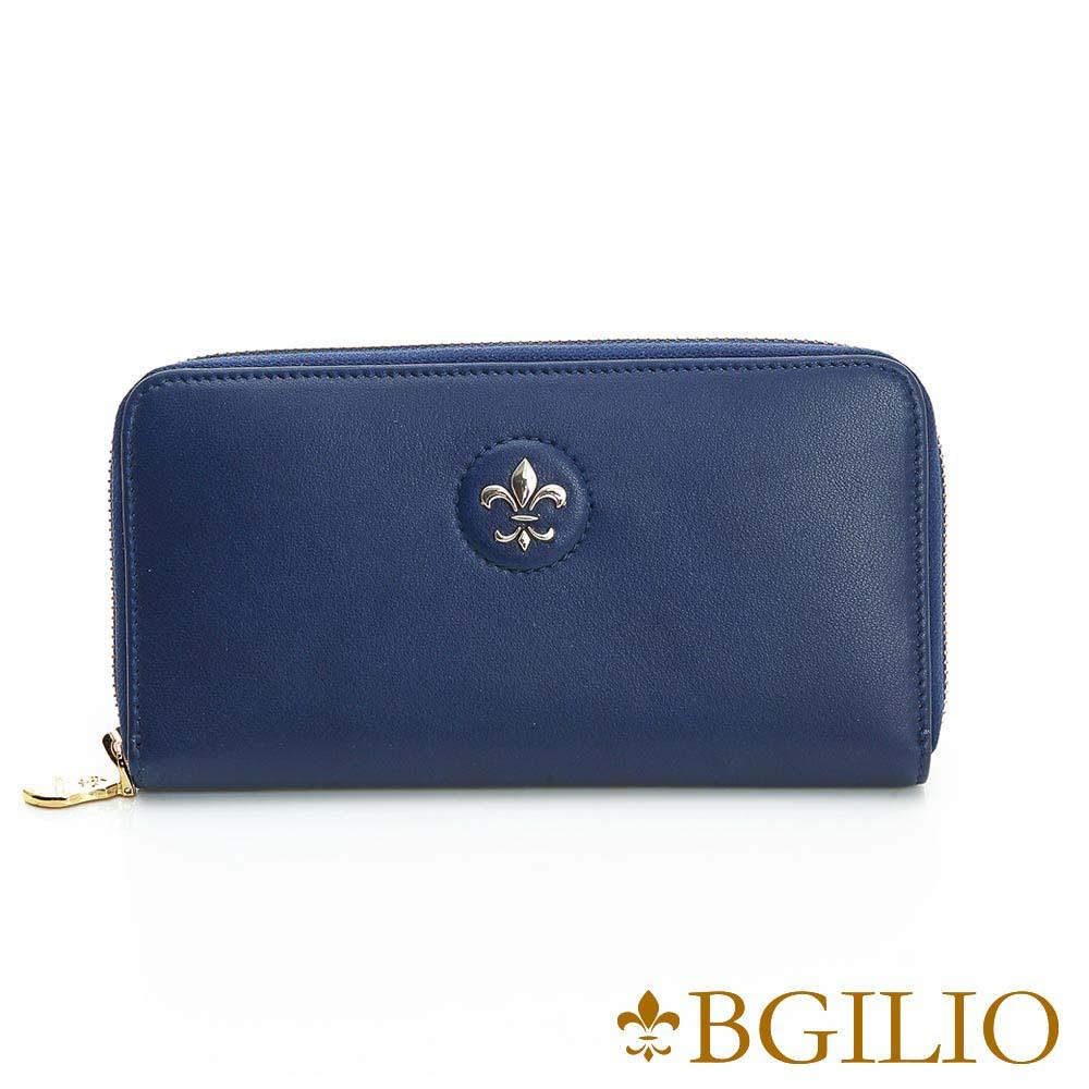 義大利BGilio - 氣質NAPPA軟牛皮拉鏈長夾 - 深藍色1942.323A-09