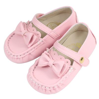 Swan天鵝童鞋-可愛蝴蝶結豆豆學步鞋 1527-粉