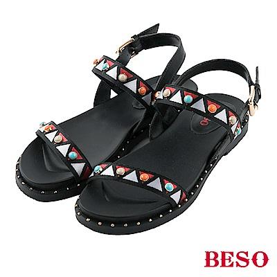 BESO 異國風情 波西米亞風寶石一字涼鞋~黑
