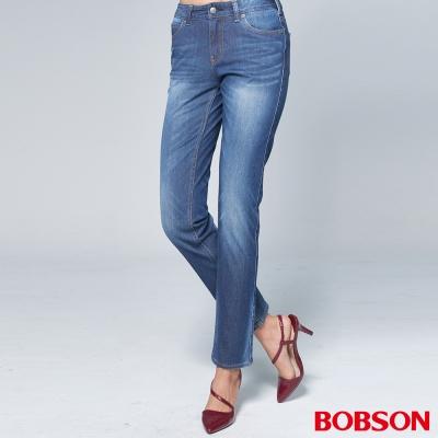 """BOBSON 女款1971""""日本黑標""""針織淺藍窄管褲"""