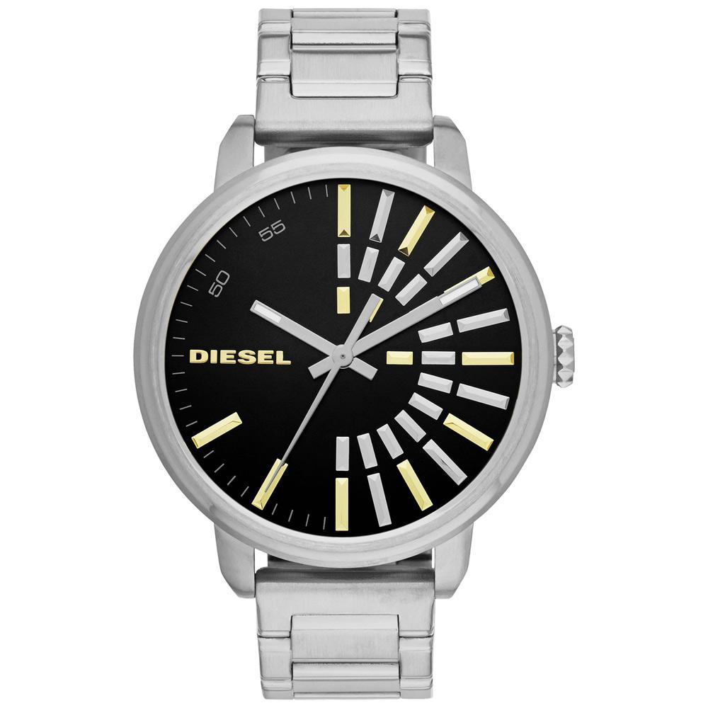 DIESEL Flare 綻放帥氣光芒個性腕錶-黑/42mm