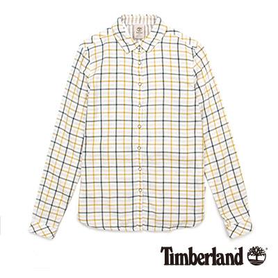Timberland-女款米黃色雙面可穿格紋長袖襯
