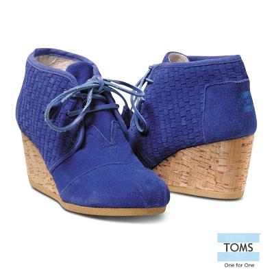 TOMS 麂皮楔型鞋-女款(藍)