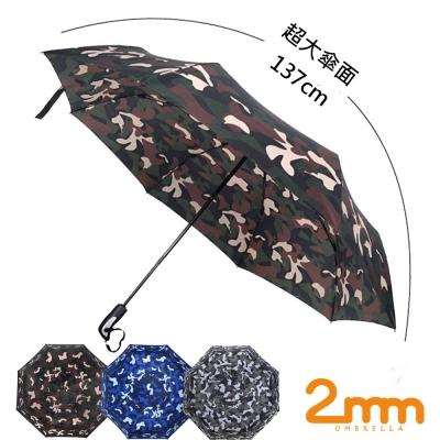 2mm 超大!街頭迷彩 超大傘面自動開收傘 (2入組)