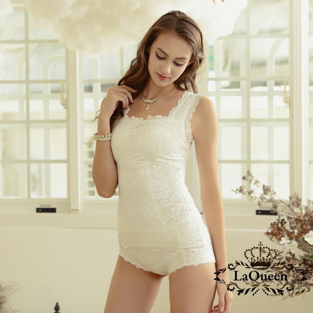 內衣  3M浪漫蕾絲蠶絲背心組-白 La Queen