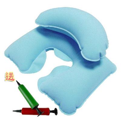 PUSH! 旅遊用品 機上枕頭 輕便枕頭 飛行頭枕 淡藍色