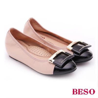BESO-極簡風格-羊皮雙色方形飾釦內增高平底鞋