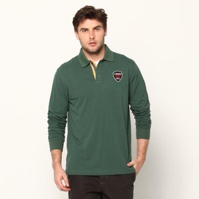 JEEP簡約細緻長袖POLO衫(森林綠)