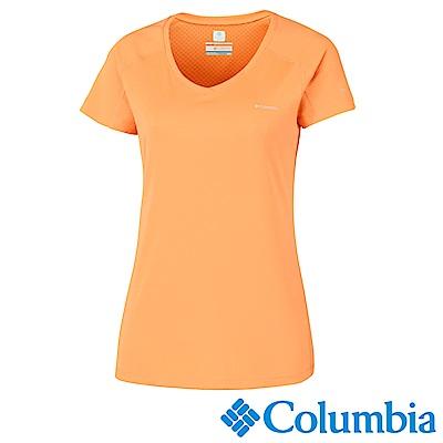Columbia 哥倫比亞女款-防曬30涼感快排短袖上衣-橘色 UAR69140OG