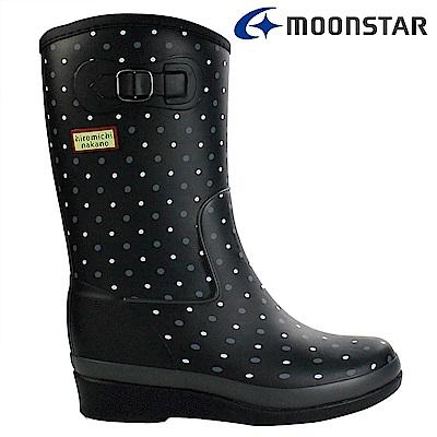 Moonstar日本 女 內增高中筒雨靴 (黑點)