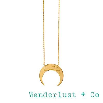 Wanderlust+Co 澳洲品牌 金色雙子座項鍊 鑲鑽新月項鍊 GEMINI