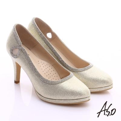 A.S.O 甜蜜樂章 金蔥亮布側縷空鑽飾高跟鞋 金