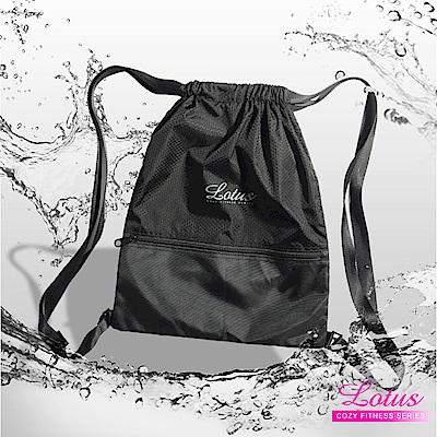 運動後背包 可調式背帶多收納輕量束口運動後背包-LOTUS-黑色