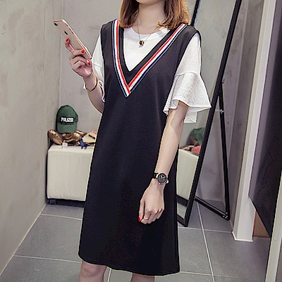 中大尺碼白色荷葉袖上衣加大V領紅黑壓條背心裙套裝XL~4L-Ballet Dolly