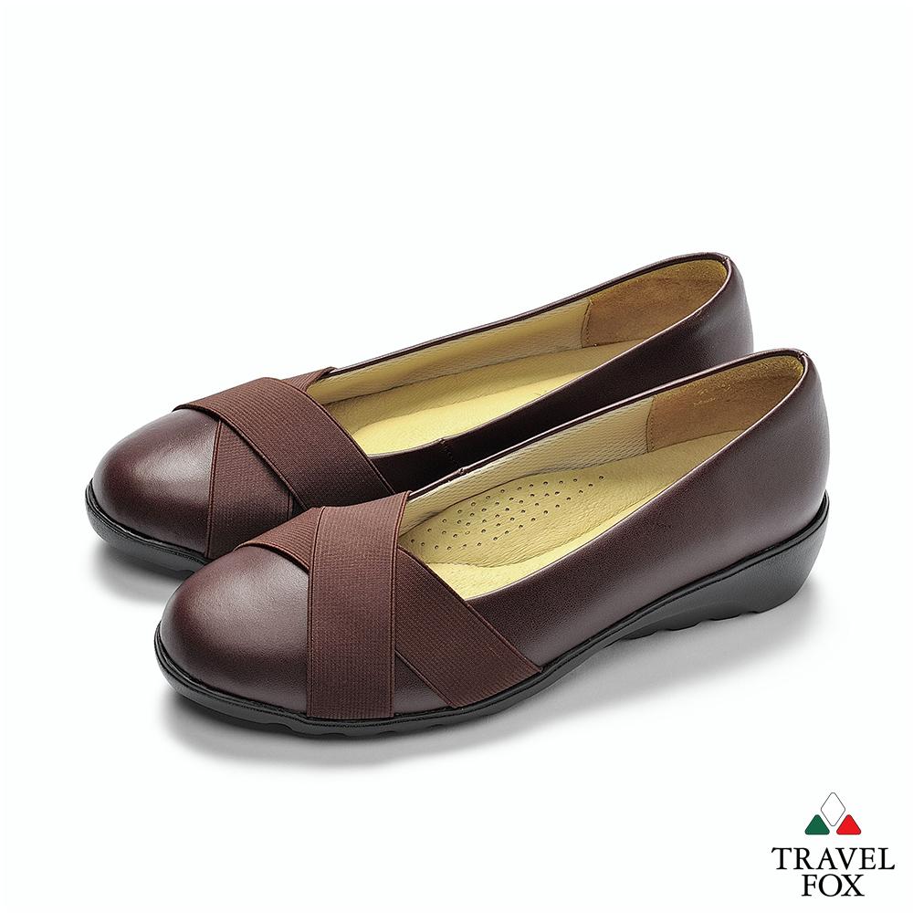 TRAVEL FOX(女) 舒適織帶拇指外翻娃娃休閒鞋-深咖啡