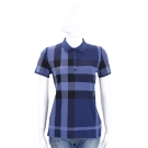 BURBERRY 藍色格紋設計棉質短袖POLO衫