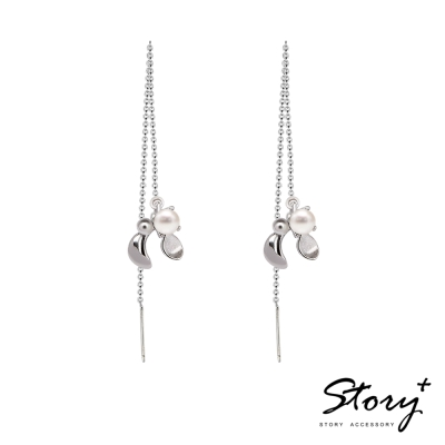 STORY故事銀飾-SNOW系列-Mistletoe槲寄生天然珍珠耳墜