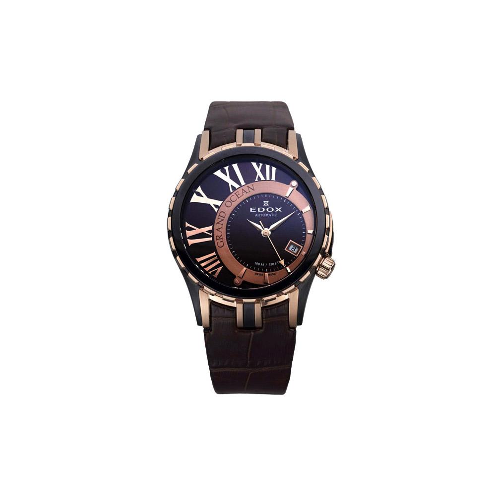 EDOX Grand Ocean 偏心機械腕錶-咖啡金/39mm