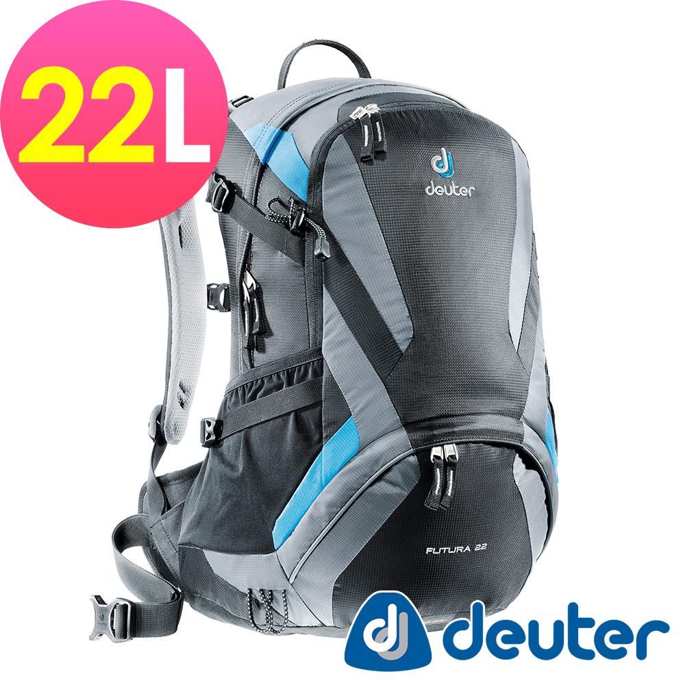 【deuter德國】網架直立式透氣登山後背包22L(34204黑灰)