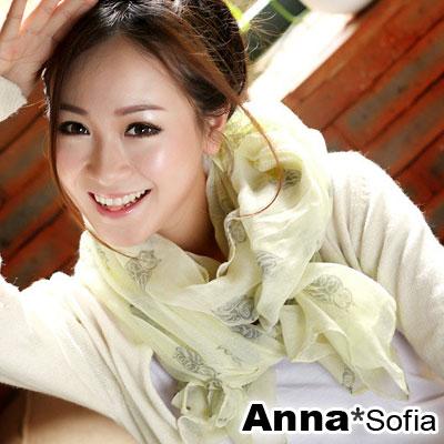 AnnaSofia-貓頭鷹圖騰-加大加寬圍巾-淺黃系