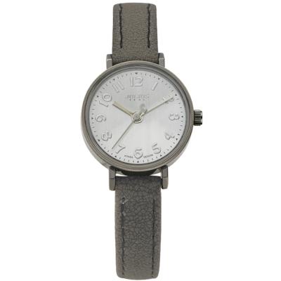 JULIUS聚利時 雙面詩人復古撞色錶帶腕錶-銀灰/25mm