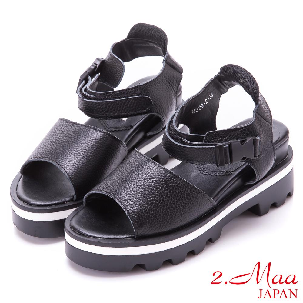 2.Maa 真皮寬帶扣環厚底涼鞋-黑