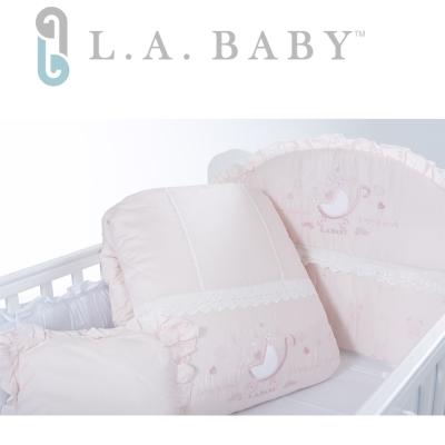 【美國 L.A. Baby】金典米蘭堡純棉七件式寢具組(M)( 粉色)