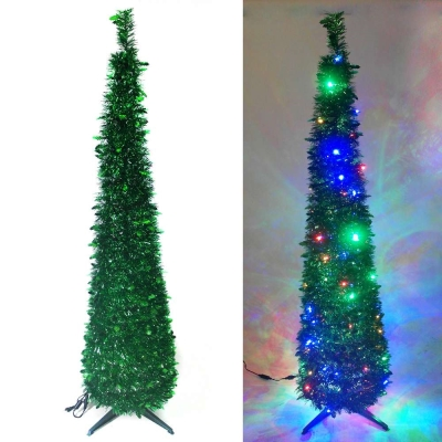 180cm彈簧摺疊綠色哈利葉瘦型聖誕樹(LED100燈-彩光)