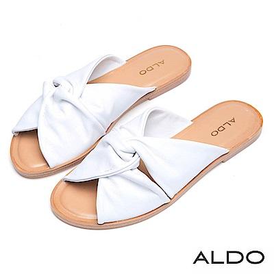 ALDO 原色真皮蝴蝶雙扭結露趾休閒涼拖鞋~氣質白色