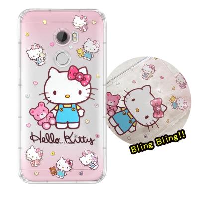 正版凱蒂貓 HTC One X10 5.5吋 夢幻童話 彩鑽氣墊手機殼(愛戀小熊...