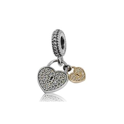 Pandora 潘朵拉 垂墜金銀鑲鋯雙對心鎖 純銀墜飾 串珠