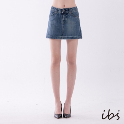 IBS 花朵單寧短裙-中藍-女