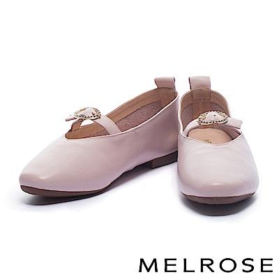 娃娃鞋 MELROSE 復古亮眼金鑽釦設計光澤牛皮娃娃鞋-粉