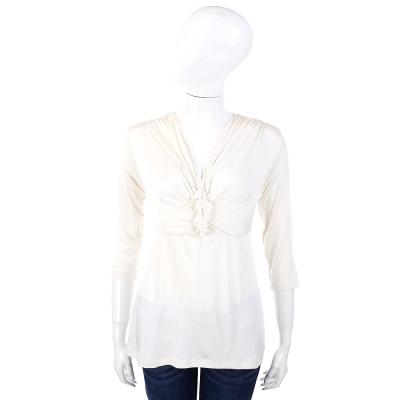 PHILOSOPHY 米白色V領抓皺設計七分袖上衣