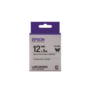 EPSON C53S654460 LK-43BK雙色緞帶系列 銀藍底黑字標籤帶寬12mm