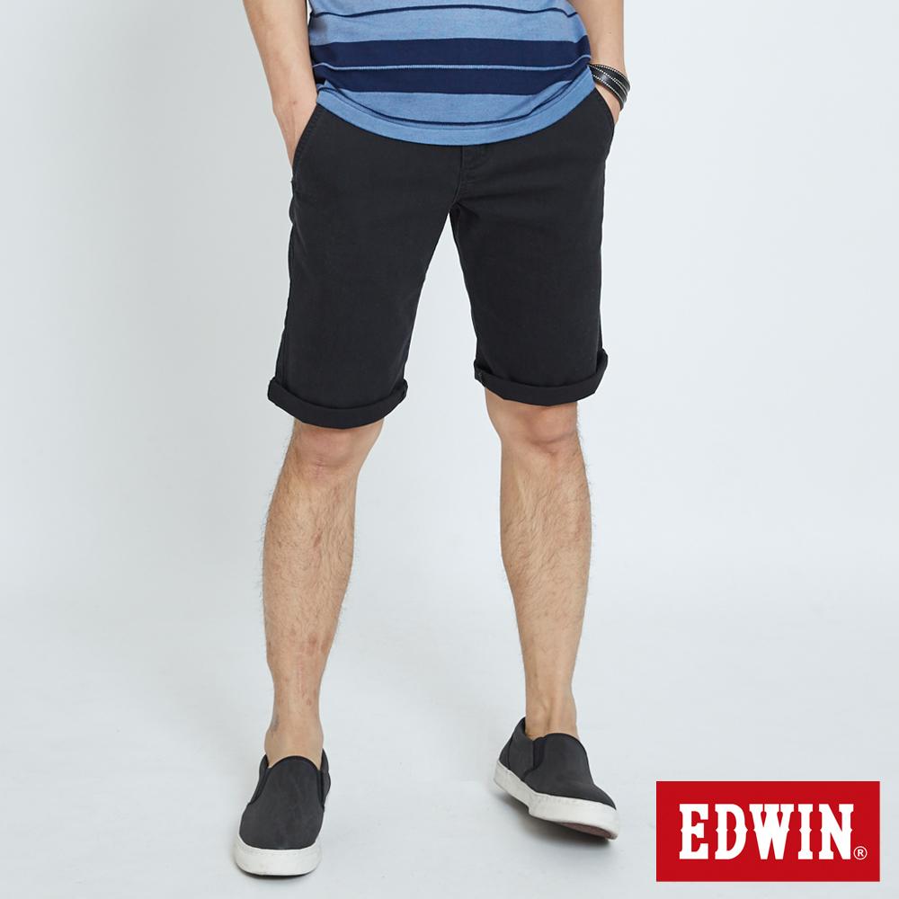 EDWIN 基本鈄袋休閒短褲-男-黑色