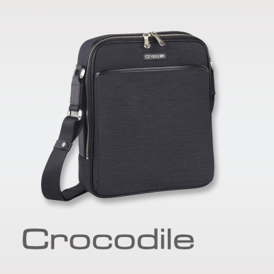 Crocodile Marvel布配皮系列直式斜背包(L)0104-07603