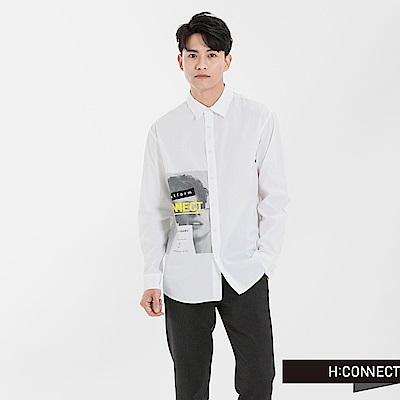 H:CONNECT 韓國品牌 男裝 - 人像印圖襯衫-白