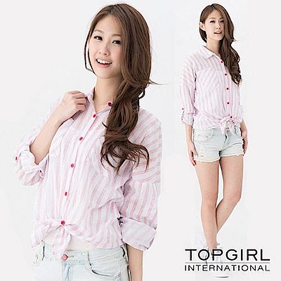 【TOP GIRL】條紋雙口袋襯衫-條紋紅