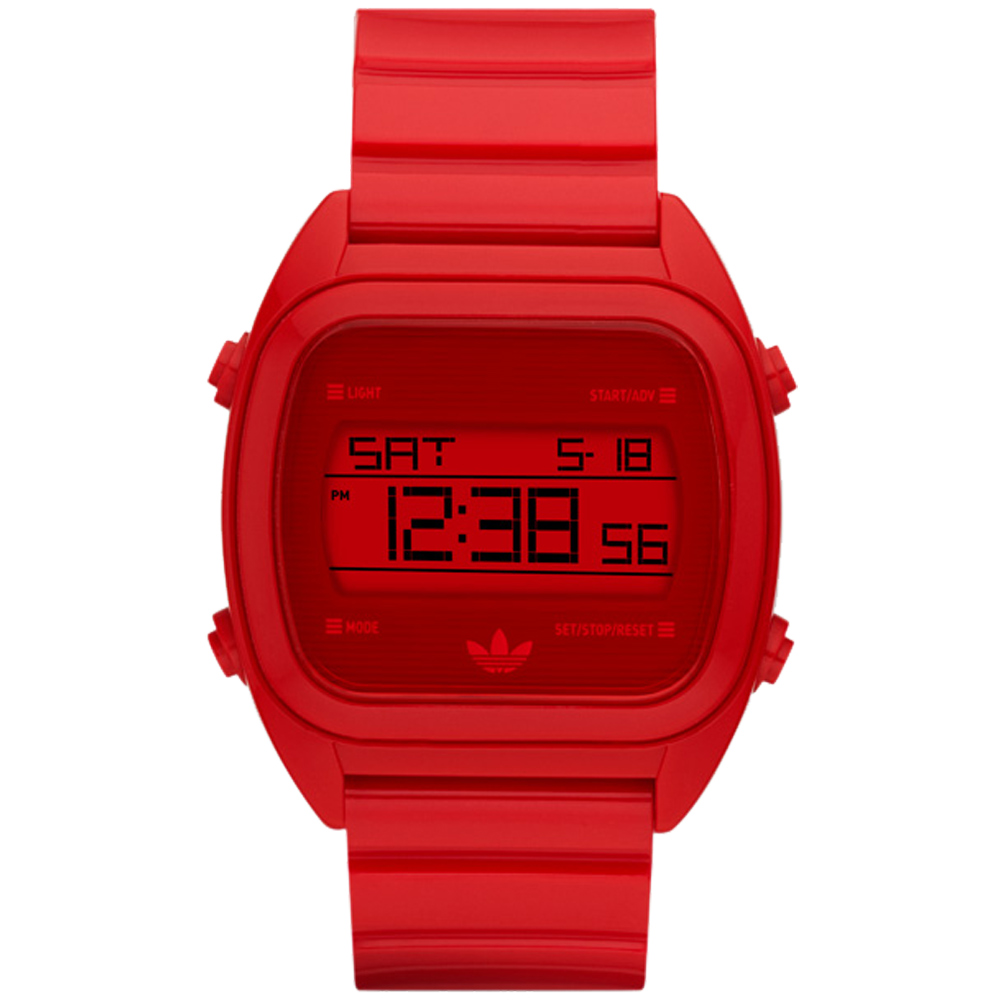 adidas線條創造三葉數位腕錶-紅38mm
