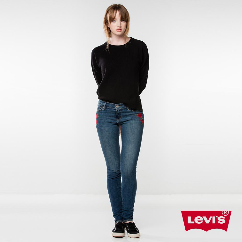 Levis 女款 711 中腰緊身窄管牛仔長褲 亞洲版型 玫瑰刺繡