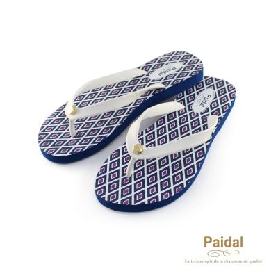 Paidal-夏威夷菱形格海灘拖鞋人字拖鞋-藍