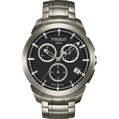 TISSOT Titanium 鈦風尚計時腕錶-黑/43mm