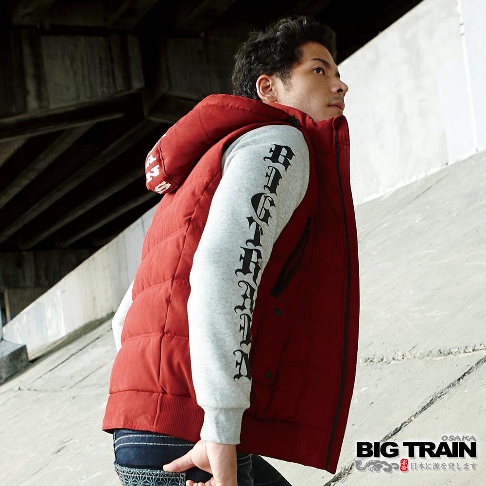 BIG TRAIN 黑白像版潮流厚T-男-淺麻灰